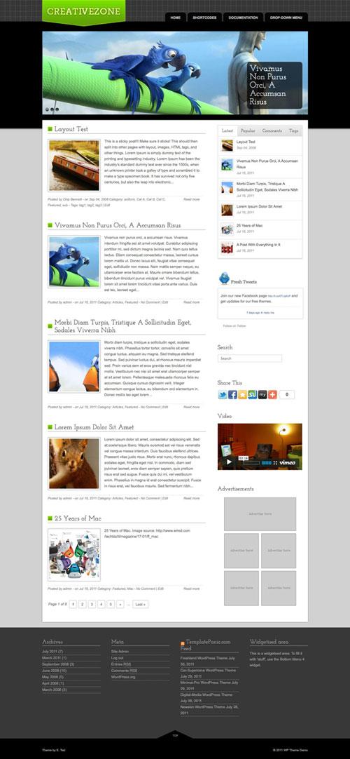 Creativezone wordpress theme