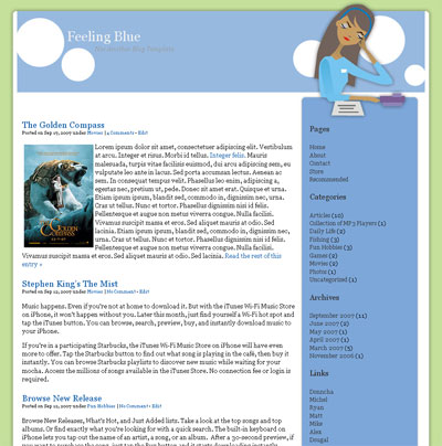 feeling blue wordpress theme