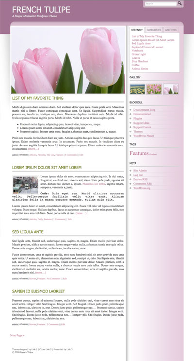 french tulipe wordpress theme