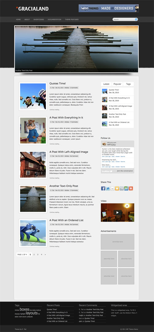 Gracialand wordpress theme