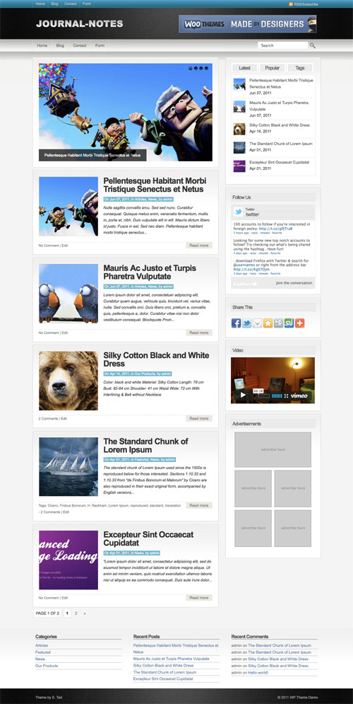 Journal-Notes wordpress theme