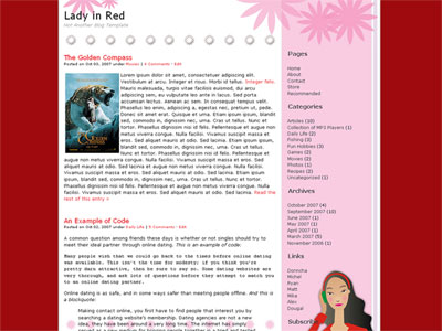 lady in red wordpress theme