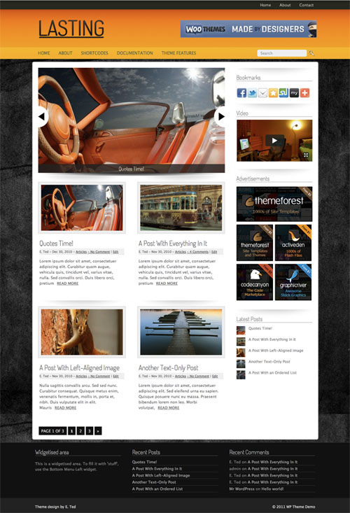 lasting wordpress theme