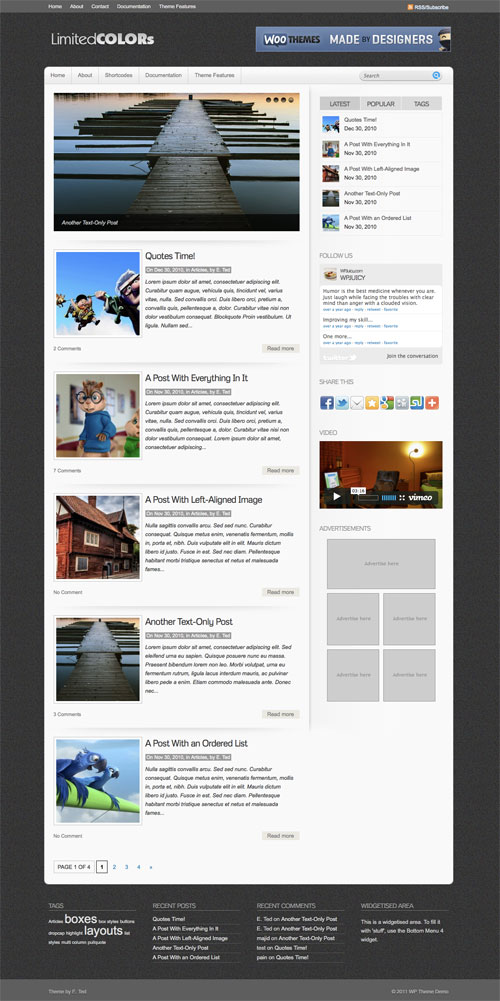 Limited-Colors wordpress theme
