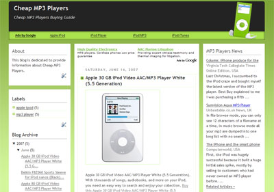 mp3 player theme blogger template