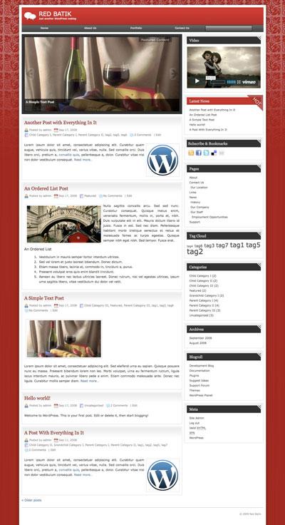 red batik wordpress theme