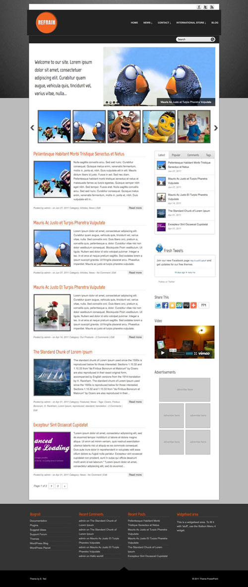 Refrain wordpress theme