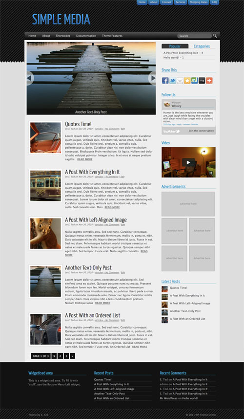 simple media wordpress theme. Black Bedroom Furniture Sets. Home Design Ideas