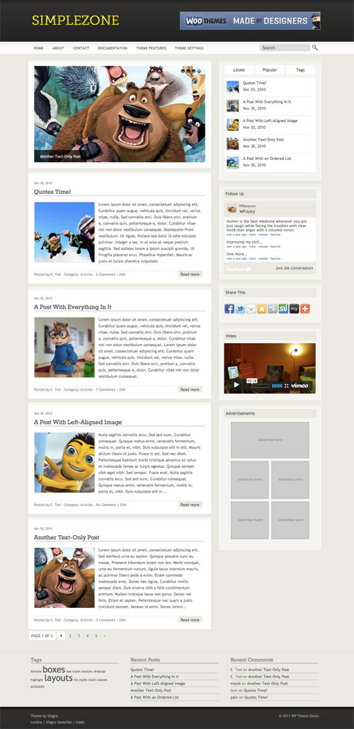 Simplezone wordpress theme