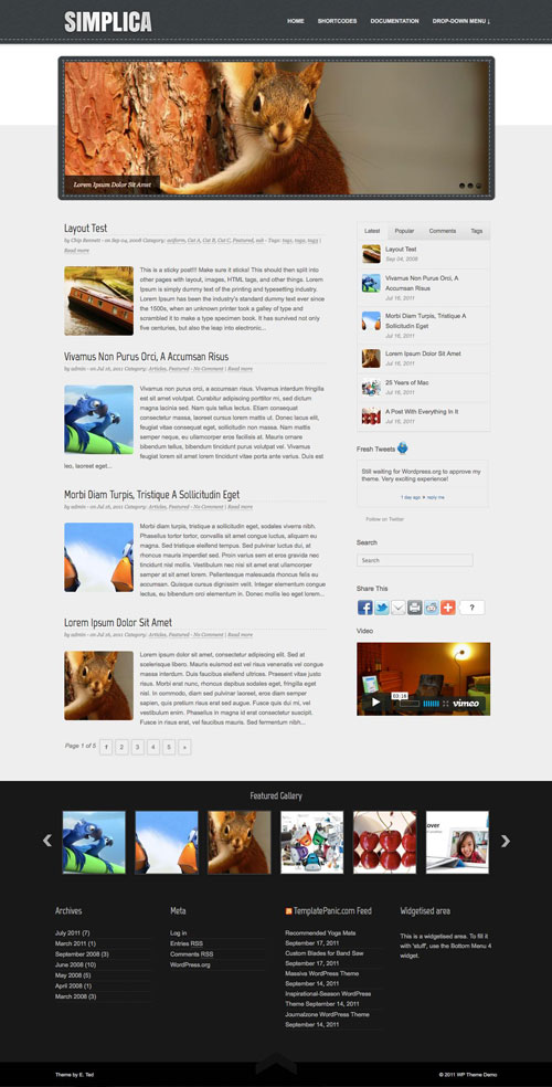 Simplica wordpress theme