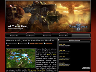 StarCraft II News WordPress Theme | TemplatePanic.com