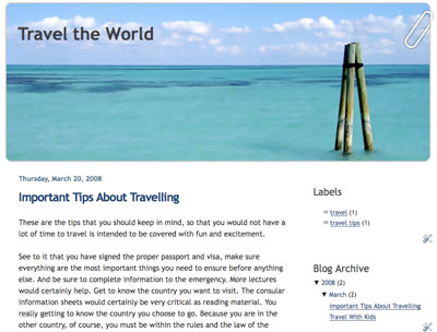 travel the world blogger template