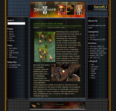 World of Starcraft WordPress Theme
