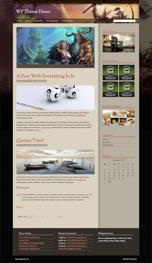 world of warcraft new wordpress theme