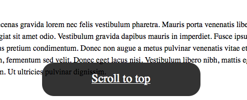 Disappearing Scroll to top link with jQuery and CSS