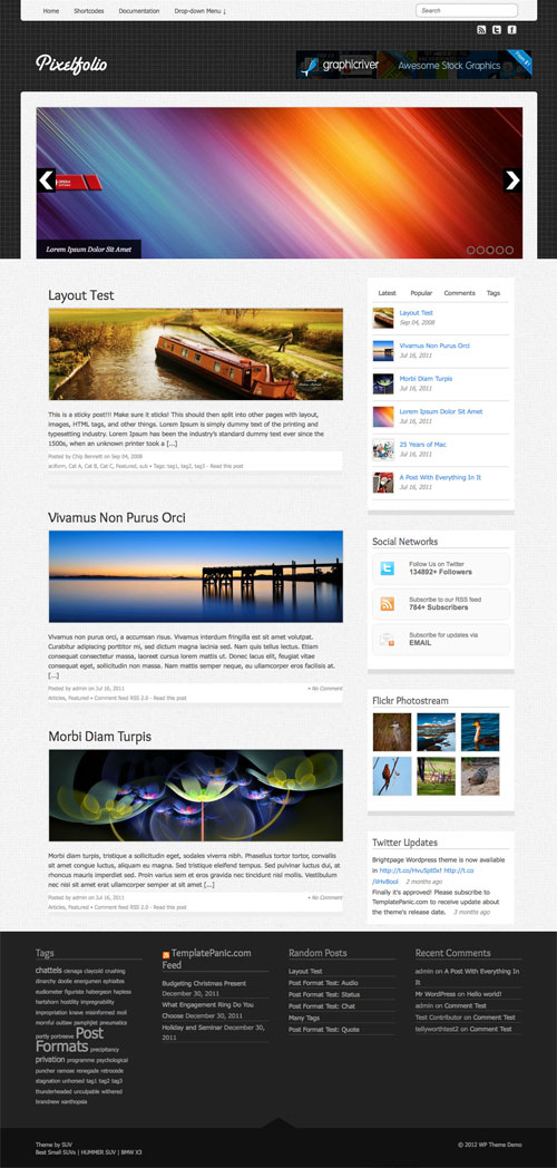 Pixelfolio wordpress theme