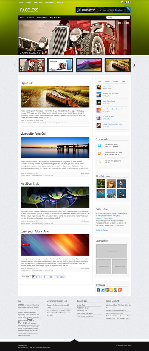 Faceless wordpress theme