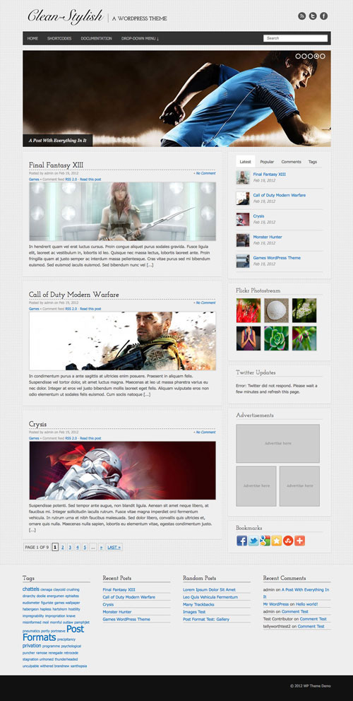 Clean-Stylish wordpress theme