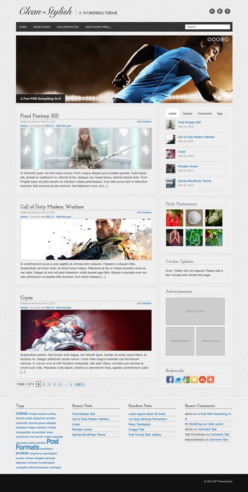Clean-Stylish wordpress theme