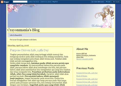 Belldandy Anime Template For Blogger
