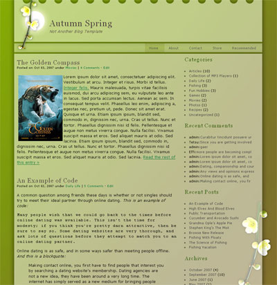 Autumn Spring WordPress Theme