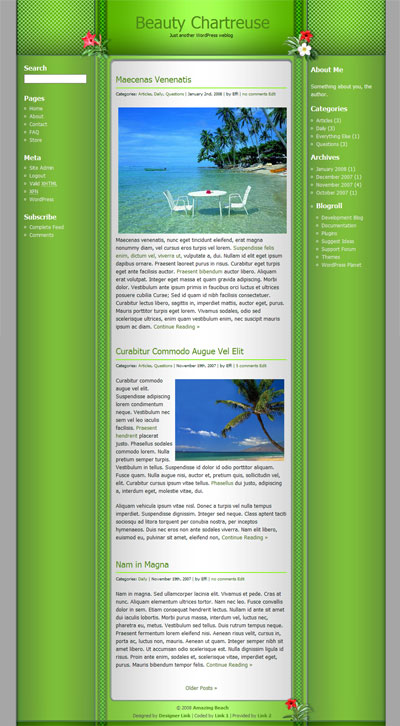 Beauty Chartreuse WordPress Theme