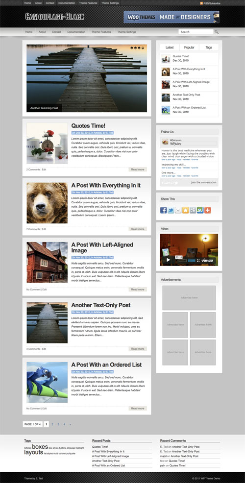 Camouflage-Black WordPress Theme