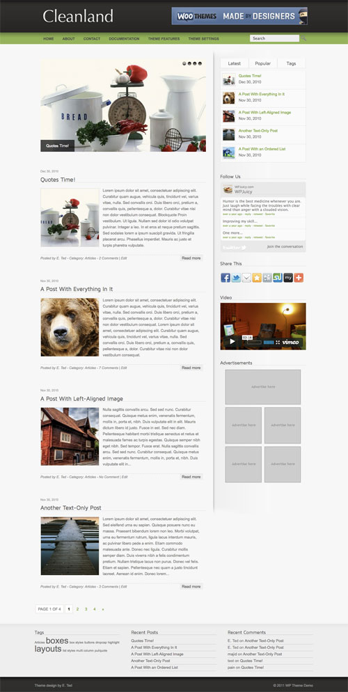 Cleanland WordPress Theme