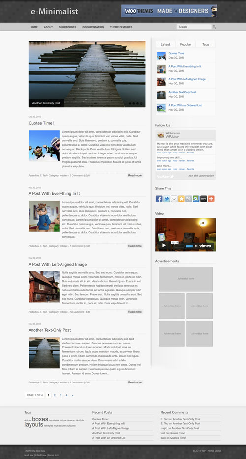 e-Minimalist WordPress Theme