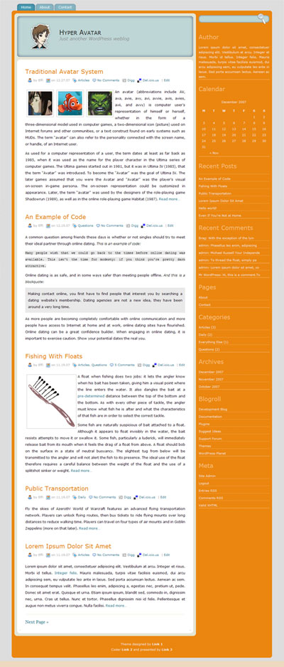 Hyper Avatar WordPress Theme