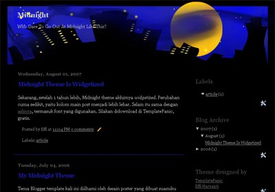 Midnight Widgetized Blogger Template