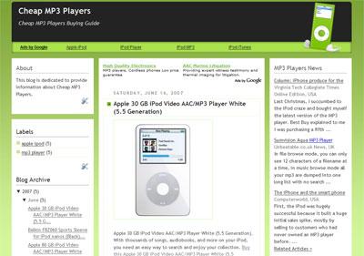 New Blogger Theme, MP3 Player Theme