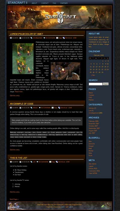 Starcraft 2 WordPress Theme