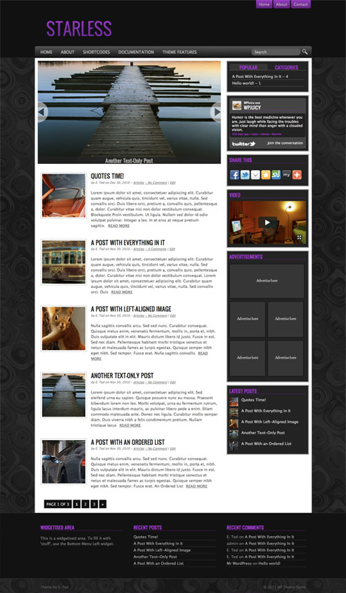 Starless WordPress Theme