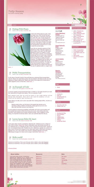 Tulip Season WordPress Theme