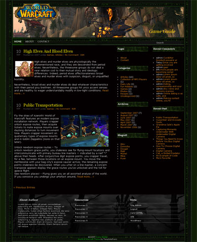 World of Warcraft WordPress Theme